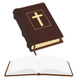 Opened and closed bible vector image