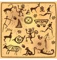 Set elements African petroglyph art old vector image