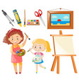 set of people painting and art objects vector image