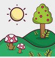 spring season with mountains and fungus plant vector image