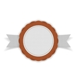 White and orange festive Emblem on Ribbon vector image