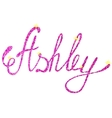 Ashley name lettering tinsels vector image