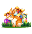 A cute bunny in front of the Easter eggs vector image