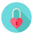 Heart Shaped Padlock Circle Icon vector image