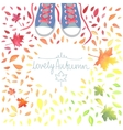 Autumn with motley leaves and boots vector image