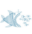 Hand drawn decorative abstract fish fighting vector image