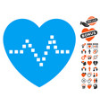 heart pulse icon with dating bonus vector image