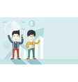 Asian businesmen with arms up high vector image