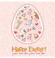 Easter egg cute floral card vector image
