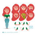 emoji face icons student woman vector image