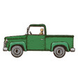 green pick-up truck vector image