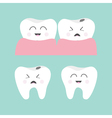 Tooth gum icon set Healthy smiling tooth Crying vector image