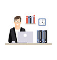 young businessman character working with laptop at vector image