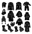 Winter clothing icons set vector image