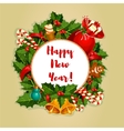New Year round poster with decorations vector image