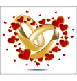 With wedding rings and Red Heart vector image