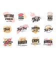 hand drawn fast food logotypes set vector image