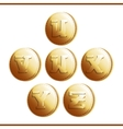 Golden coins with roman letters - part 5 vector image