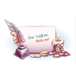 banner with candle money inkwell and vector image