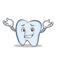 confused face tooth character cartoon style vector image