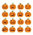 Halloweens pumpkin icons set vector image
