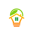 house idea green leaf logo vector image