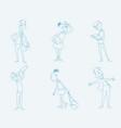 six schoolchildren set vector image