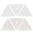 three complicated triangle labyrinths with red vector image