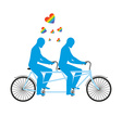 Gays in tandem Two blue men on bicycle Lovers of vector image