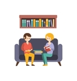 Library Or Bookstore With People Reading Books On vector image