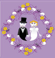wedding between skeletons with frame vector image