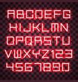glowing red neon alphabet vector image