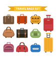 travel bags icon set flat style isolated on a vector image