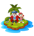 pirate in the island vector image