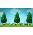 Scene with trees and flowers vector image