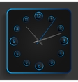 Analog clock with blue neon lights vector image