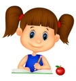 Cute girl cartoon writing on a book vector image