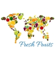 Fresh fruits icons in world map shape vector image