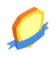 Gold shield with blue ribbon isometric 3d icon vector image