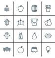set of 16 farm icons includes wood pot taste vector image