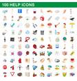 100 help icons set cartoon style vector image