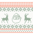 Knitted pattern with santa claus and deer vector image