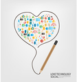 pencil draw heart template design with social vector image vector image