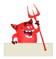 cartoon red devil monster vector image