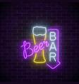 glowing neon beer pub signboard with arrow on vector image