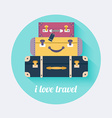 I love travel Vintage travel luggage background vector image