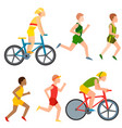 racing bike people cyclist in action fast vector image