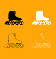 roller skate set black and white icon vector image