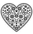 scandinavian folk heart black pattern vector image