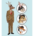 fashion hipster style deer set animals vector image